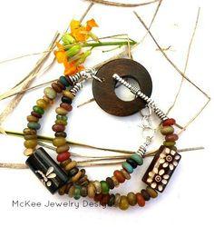 Wood, Indonesian glass, silver multi bracelet. Bohemian jewelry, McKee Jewelry Designs