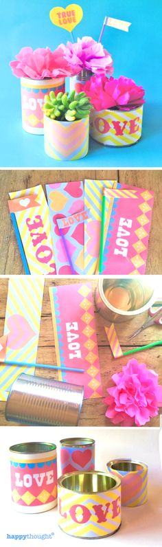 Printable tin can labels and photo props for Valentines Day! From happythought.co.uk