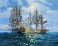 Ship Paintings, Seascape Paintings, Oil Painting On Canvas, Modern Paintings, Art Original, Original Paintings, Sailboat Art, Nautical Art, Night Sea