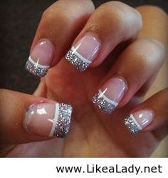 Gel nails with glitter tip and white line