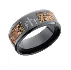Black Camo Ring With Crosses Ringscamo Wedding