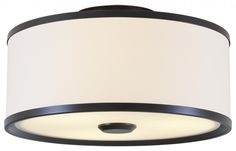 Three Light Mocha White Shade Drum Shade Flush Mount : 76KE1 | PINE LIGHTING