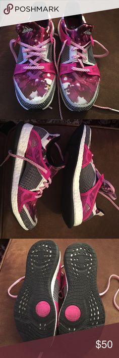 Adidas tennis shoes Hot pink adidas boost training tennis shoes. Rarely worn. Maybe 5 times at most. Great condition Adidas Shoes Athletic Shoes