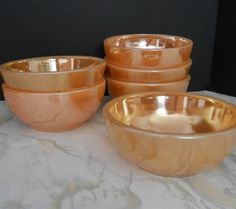 Peach Luster Bowls from Fire King  Vintage by WidhalmsCollectibles, SOLD