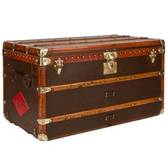 20th Century Louis Vuitton Monogram Haute Courier, Steamer Trunk, circa 1940 | From a unique collection of antique and modern trunks and luggage at https://www.1stdibs.com/furniture/more-furniture-collectibles/trunks-luggage/