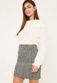 Size 4 - Black And White Tweed Pocket Detail Mini Skirt