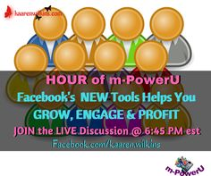 Facebook Has Implement Some New Tools to Help You  Grow Your Audience, Engage Your Audience and PROFIT!... If You're an Entrepreneur, Shouldn't That be Your Focus?...Join the Discussion and Find Out What These TOOLS are, How to Use Them and Best of All How to Profit from them...6:45 PM est is the TIME / facebook.com/kaaren.wilkins..... is the PLACE....BE THERE!