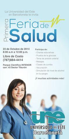 Banner y logo Feria de Salud Barceloneta - UNE
