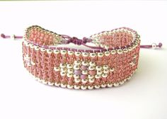 Pulsera de abalorios telar rosa y plata pulsera de por MaisJewelry