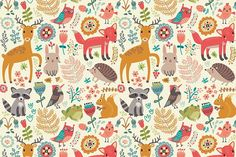 Forest. Animals and patterns by Anna Guz's Store on @creativemarket