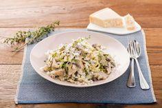 Mushroom and Leek Tagliatelle with Thyme, Garlic, and Parmesan