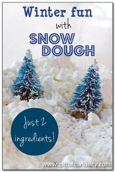 "Winter fun with snow dough: Use two simple ingredients to create your own ""snow dough"" for indoor winter fun. This silky snow dough is moldable and makes a great sensory play material. 
