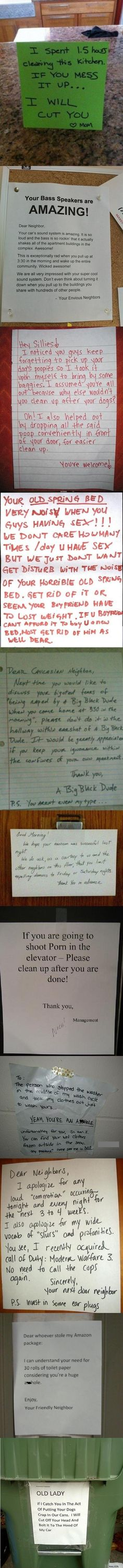 Dear Neighbor.  Funny signs left for annoying neighbors.