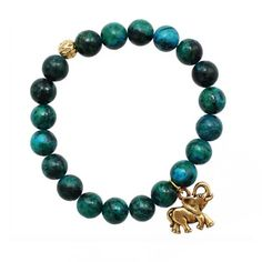 Gold Elephant Bracelet #etsy #jewelry #teal #turquoise #green #stone #african #indian #fashion #spring #lucky