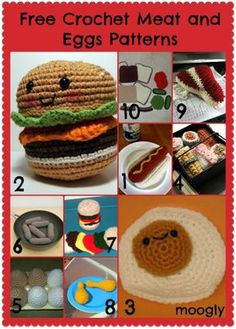 Free Crochet Meat and Eggs Patterns! HUGE roundup of free amigurumi patterns!