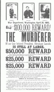Wanted poster for John Wilkes Booth, John Surratt and David Edgar Herold following Abraham Lincoln's assassination. #civilwar #johnwilkesbooth