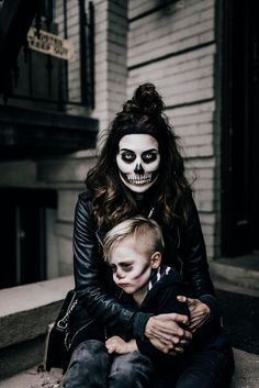 Scary halloween costume for mum and kid