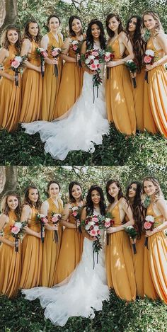 Aline Wedding Dresses A-Line V-neck Long Cheap Yellow Chiffon Convertible Bridesmaid Dresses, Mustard Yellow Wedding, Wedding Yellow, Mustard Yellow Dresses, Yellow Weddings, Unique Weddings, Yellow Bridesmaid Dresses, Bohemian Bridesmaid Dresses, Infinity Dress Bridesmaid, Sheila