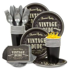 Check out Vintage Dude Birthday Party Standard Tableware Kit Serves 8 - Wholesale Party Supplies from Wholesale Party Supplies 50th Birthday Party Ideas For Men, 75th Birthday Parties, Vintage Birthday Parties, 50th Party, Birthday Party Decorations, 70 Birthday, Birthday Lunch, Birthday Stuff, Themed Parties