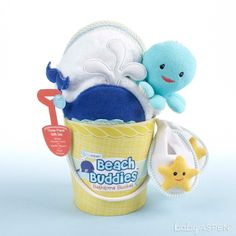 "Baby can have some fun in the tub with a few beach buddies! | ""Beach Buddies"" 3-Piece Bathtime Bucket Gift Set (Personalization Available)"