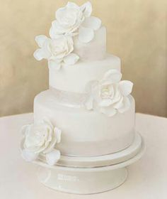 Simple white wedding cake. This is what ours looks like. Three tiers. Orange ribbon at bottom of each tier and a few orange daisies.