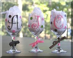Personalized Initial Wine Glasses with Polka Dots / Bridal Party/Bachelorette Party/ Girls Night Out/Birthday Gift. $9.00, via Etsy.