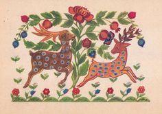 Ukrainian Folk Art. M. Mukha Deers Postcard by RussianSoulVintage