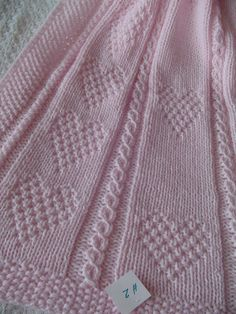 Baby Blanket 2 Pink  Pink Baby Blanket Hand Knit Baby