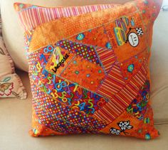 Jack's quilted and embroidered pillow Throw Pillows, Quilts, Writing, Cushions, Decorative Pillows, Patch Quilt, Kilts, Log Cabin Quilts, Decor Pillows