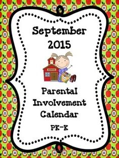 """If you want more meaningful """"homework"""" for your PK or Kindergarten students, this freebie September Parental Involvement Calendar is for you. Students and their families will have fun doing activities such as: • Draw a picture of something that is loud and something that is quiet. • Sing the alphabet song. • Talk to your child about the rules at school. • Look for circles in the environment, i.e. clock, plate. Repinned by SOS Inc. Resources pinterest.com/sostherapy/."""