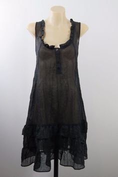 SIZE M 12 Ladies Black Sheer  Tunic Top Gothic Layer Cocktail Corporate Design #Unbranded #Tunic #Career