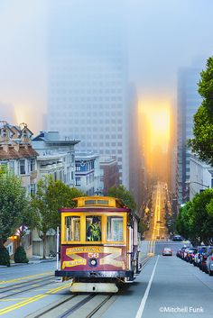 Cable Car At Dawn On California Street, San Francisco  www.mitchellfunk.com