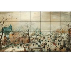 Winter Landscape with Ice Skaters reproduction by Hendrick Avercamp collection Rijksmuseum Ice Skaters, Decorative Tile, Winter Landscape, Rembrandt, 17th Century, Art Reproductions, High Gloss, Indoor, Ceramics