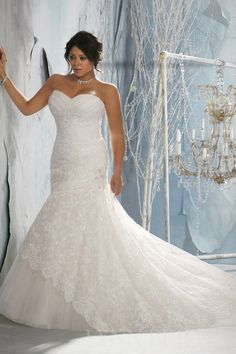 Mermaid Sweetheart Chapel Train Tulle Lace Plus Size Wedding Dress