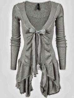 Ribbed Asymmetric Hem Cotton Cardigan | Fashion Style Attire