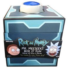 """The Rick and Morty Mr. Meeseeks Dice Dares Game lets you hit the button on your Meeseeks Box, summon up a Meeseeks or 8, and let them help you out.  They want you to succeed and they only get slightly angry if you don't. In this game players draw Request cards like """"Make Me a Sandwic Rick And Morty Game, Rick And Morty Merch, Rick I Morty, Rick And Morty Meeseeks, Dare Games, Mister Meeseeks, Dan Harmon, Dares, Diy Food"""