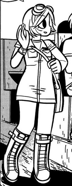 Ramona coordinates a simple collared dress [with pockets!] with her signature chunky boots. For some reason, that dress kind of reminds me of what a speed suit would look like as a dress. [Scott Pilgrim Gets It Together]