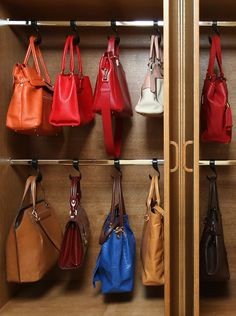ideas for closet organization ideas purses handbag storage Bedroom Closet Design, Master Bedroom Closet, Wardrobe Design, Closet Designs, Handbag Storage, Handbag Organization, Organization Ideas, Organizing Purses, Organiser Son Dressing