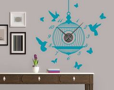 Bird Cage Wall Decal By Style And Apply   Wall Clock Decal, Sticker, Mural  Vinyl Art Home Decor   U 4137   Light Blue, X U003eu003eu003e Be Sure To Check Out This  ...