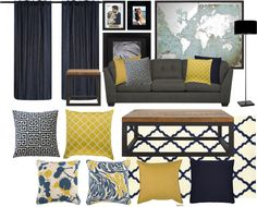 I love this living room color scheme inspiration board. Today, I'm testing our navy and yellow living room color scheme to see how it will look in my space with the Signature Design by Ashley Furniture Delta City Sofa in Steel. Grey And Yellow Living Room, Navy Living Rooms, New Living Room, Living Room Furniture, Small Living, Modern Living, Living Room Color Schemes, Living Room Colors, Living Room Designs