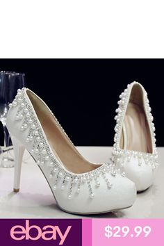 su.cheny White pearls rhinestone flats low high heels pumps Wedding Bridal  shoes 1c1d278e1
