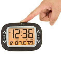 Amazon.com: MARATHON CL030051BK Atomic Alarm Clock With Auto-Night Light, Temperature & Date - Batteries Included: Home & Kitchen