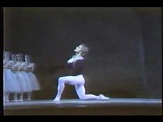 Legendary Mikhail Baryshnikov does poisson jumps in his diagonal of cabriolés during Albrecht's variation in act 2 of Giselle.