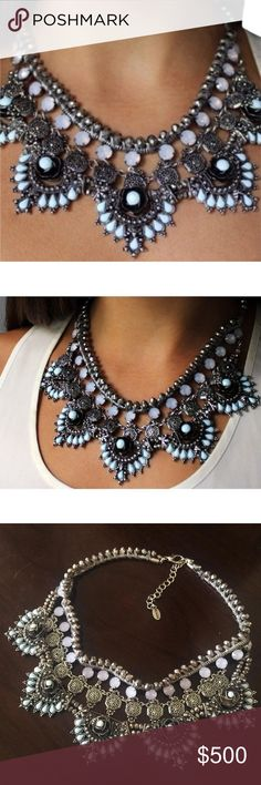 ZARA Bohemia Blue Opal Jeweled Statement Necklace This RARE bohemian statement necklace by ZARA features opal-like beads, silver floral accents and soft blue threading. Minor wear but in overall good condition, lost Zara tag at clasp. No loose threads. Zara Jewelry Necklaces