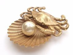 antique jewelry gold crab brooch faux pearl gold by ShoponSherman,