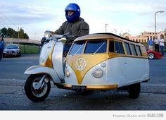 VW bus side-car.