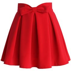 Chicwish Sweet Your Heart Bowknot Pleated Skirt in Ruby (€29) found on Polyvore featuring women's fashion, skirts, bottoms, saias, red, back zipper skirt, heart skirt, red knee length skirt, red skirt and pleated skirt