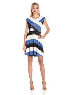 BCBGMax Azria Womens Jazymne ALine Lace Dress Blue Sapphire Combo Medium -- For more information, visit image link.