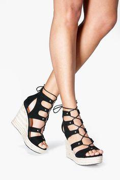 3d090143b Anna Espadrille Ghillie Wedge Black Block Heel Sandals, Black Platform  Sandals, Black Wedge Sandals