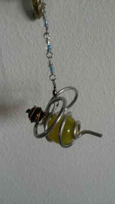 Wire wrapped marbles. Bumblebee sun catcher.